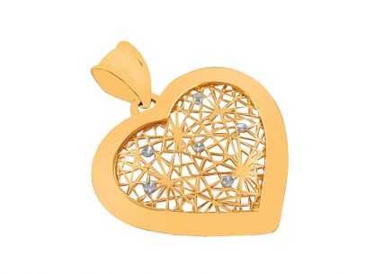 Two tone Gold pendant Heart with carved pattern