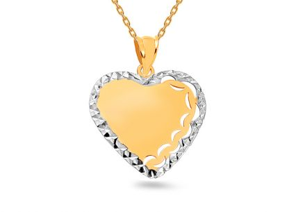 Two tone Gold pendant Heart with pattern