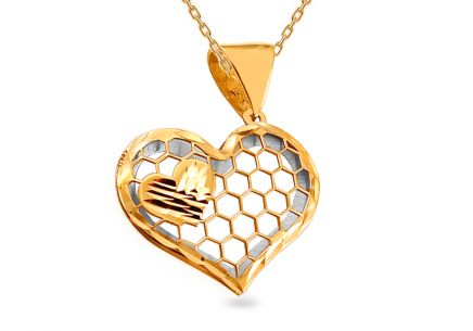 Gold two-tone Heart pendant with engraving