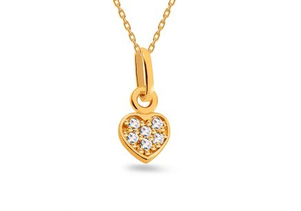 "Golden Pendant with Zircons ""Heart"""