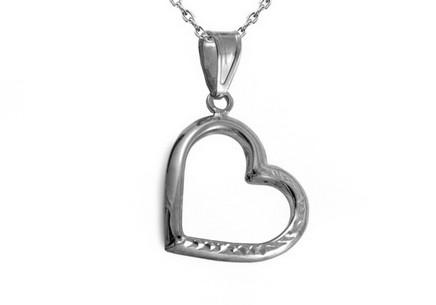 White Gold engraved heart