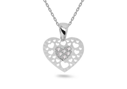 White gold zirconia Heart pendant with engraving
