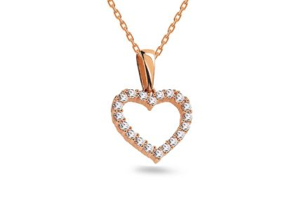 Pink gold pendant Heart decorated with cubic zirconia