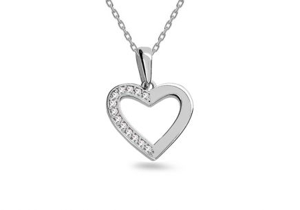 White gold heart pendant with zircons