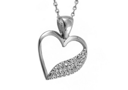 White Gold Zircon Heart