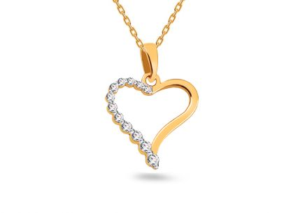 Gold Heart with Zircons