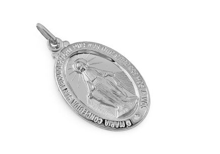 White gold miraculous medal of the Immaculate conception of Virgin Mary