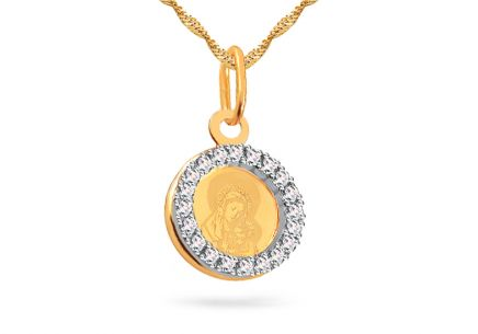 Combined gold pendant with zircons Madonna with baby