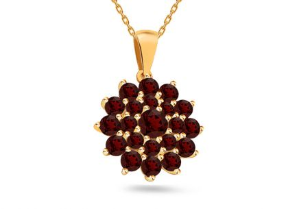 Gold Flower pendant with natural garnets