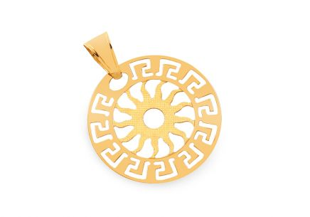 Gold pendant sun with Greek pattern