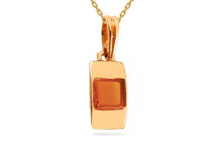 Gold pendant with amber