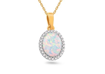 Gold Pendant with Opal and Zircons