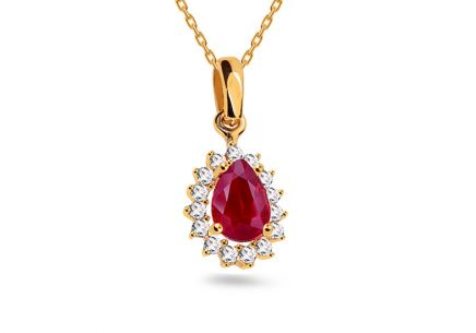 Gold pendant with pink and clear zircons