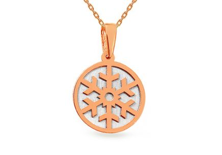 Gold two tone pendant with Snowflake gravure