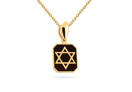 Gold pendant with black glaze Six-pointed star