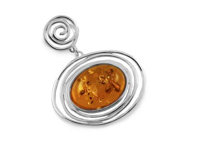 Original silver pendant with amber