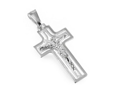 Rhodium plated Pendant carved cross with Jesus