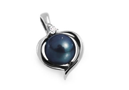925Silver Pendant decorated cubic zirconia round blue pearl Heart design