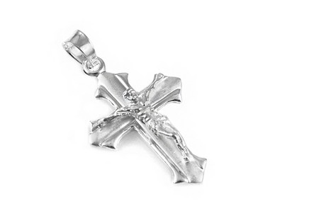 Rhodium plated Pendant Jesus on the cross with frosted