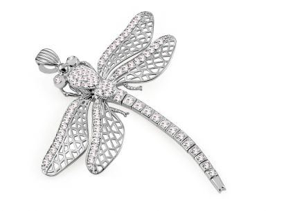 White gold dragonfly Pendant decorated with zircons