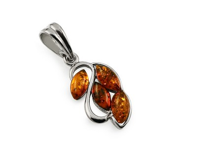 Silver Amber Pendant