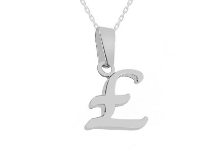 Rhodium plated 925Sterling Silver Pendant the letter E