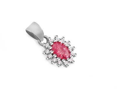 Silver pendant with pink and clear zircons