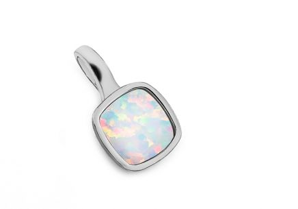 Silver pendant with rainbow stone