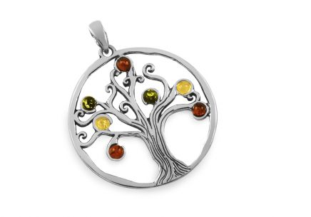 Three-tone Silver Tree of Life pendant with amber