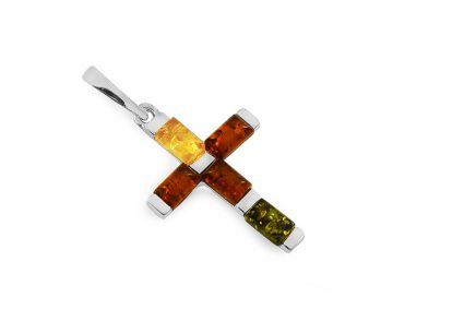 Silver Cross pendant with multi color amber