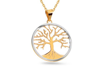 Two-toned Gold Round Tree of Life Pendant