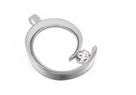 Rhodium plated silver pendant with Cubic zirconia (CZ)
