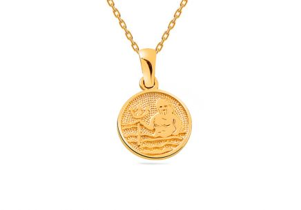 Golden Aquarius Zodiac Sign Pendant