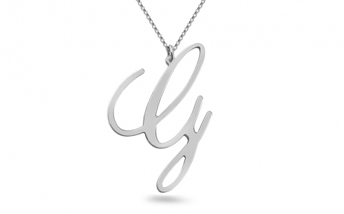 Rhodium plated 925Sterling Silver chain an inspired by handwritten letter G Pendant