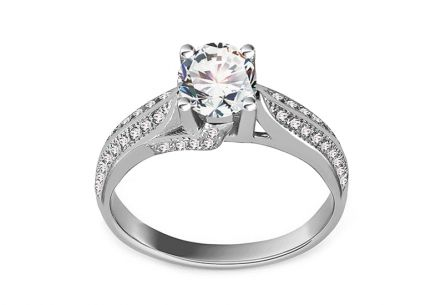 Rhodium plated Sterling Silver ring designed with cubic zirconia