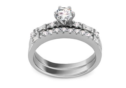 Silver engagement ring set with zircons