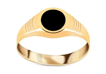 Gold mens ring with black glaze