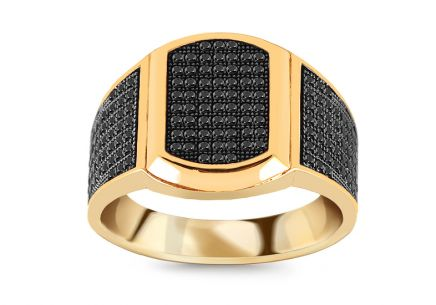 Gold men's ring with black zircons