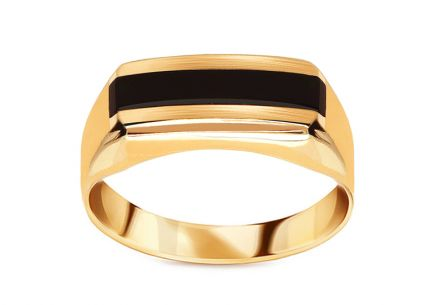 Gold men's ring with natural onyx
