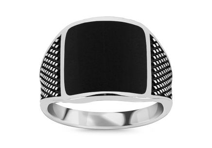 Silver men's ring with black stone