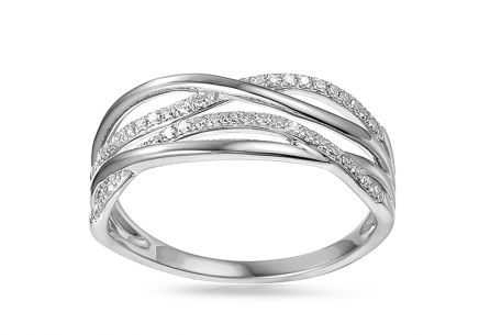 Diamond ring made of white gold 0.120 ct