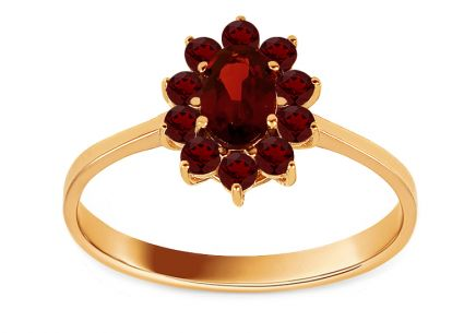 Gold Ring with Natural Garnets Blossom
