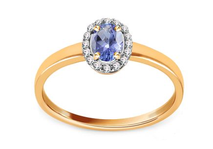 Tanzanite gold ring with diamonds 0.090 ct