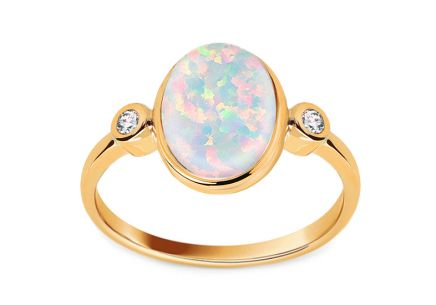 Gold ring with opal and zircon