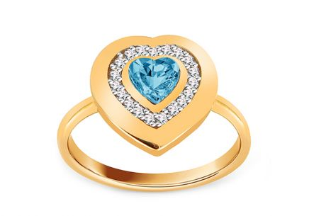 Gold two-tone ring Heart with blue stone