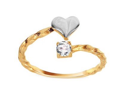 Gold open ring with heart and zircon