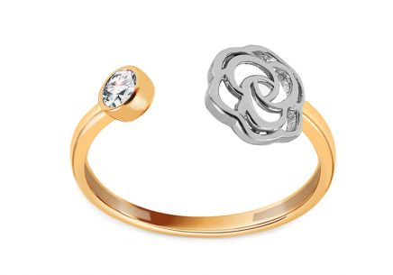 Gold open ring with rose and zircon