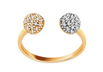 Gold open ring with zircon balls