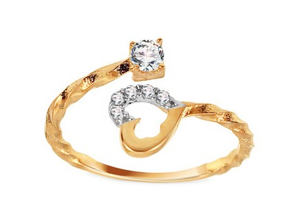 Gold open ring with hearts and zircons