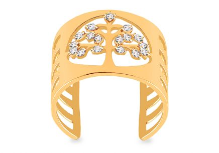 Gold Tree of Life Zirconia Ring